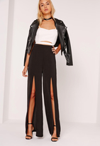 Missguided Wide Leg Hammered Satin Split Trousers Black