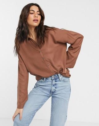 Vila oversized longline shirt in brown