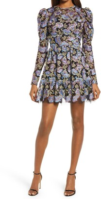 Dress the Population Adrienne Embroidered Puff Sleeve Mini Dress