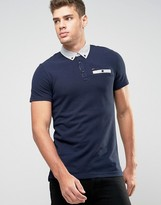 Tommy Hilfiger Polo Shirt With Contrast Collar In Navy