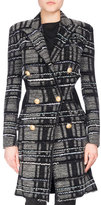 Balmain Double-Breasted Plaid Tweed Midi Coat, Black/Gray