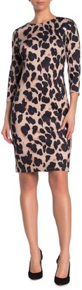 T Tahari Cheetah Print 3/4 Sleeve Sheath Dress