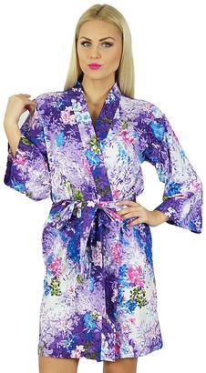 Bimba Women Short Cotton Robe Bridesmaid Getting Ready Wrap Cover Up Purple