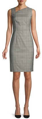 HUGO BOSS Delray Natural Wool Stretch Check Sheath Dress