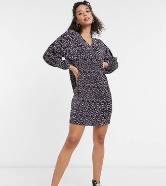 Asos Tall ASOS DESIGN Tall mini plisse long sleeve v-neck dress in navy ditsy floral