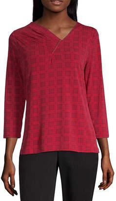Liz Claiborne Womens Asymmetrical Neck 3/4 Sleeve Knit Blouse