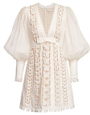 Zimmermann Women's Super 8 Butterfly Lace Eyelet Puff-Sleeve Silk & Linen Dress