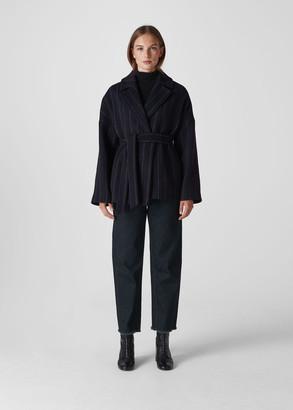 Stripe Belted Short Wrap Coat