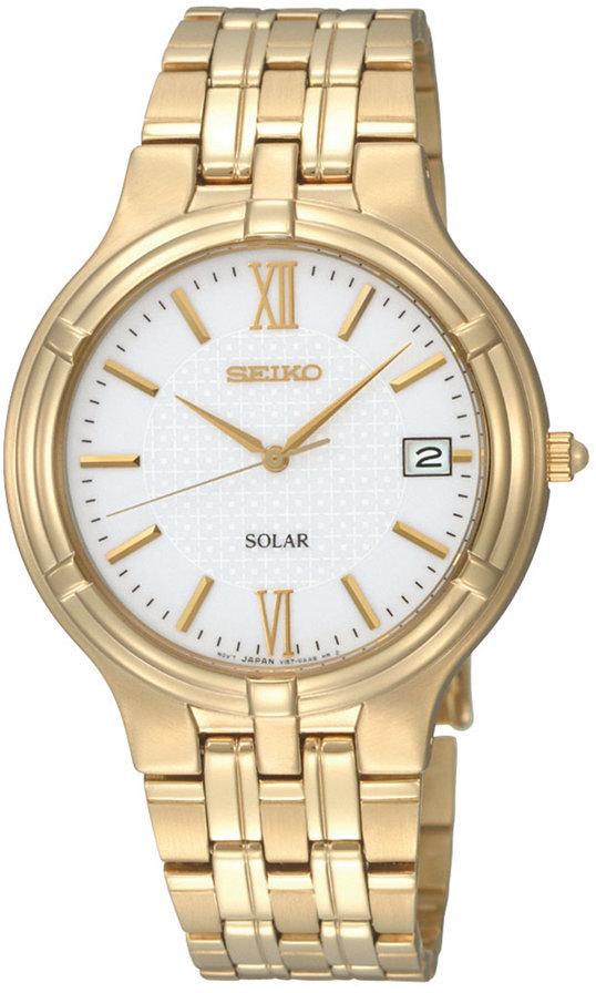 Seiko Watch, Men's Solar Gold-Tone Stainless Steel Bracelet 37mm SNE030