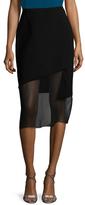 Prabal Gurung Obsidian Crepe Pencil Skirt
