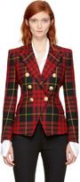 Balmain Red & Black Tartan Six-Button Blazer