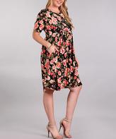 Black & Pink Floral Pocket Empire-Waist Dress - Plus