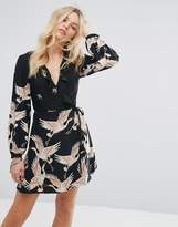 Glamorous Wrap Front Dress In Bird Print With Frill Detail