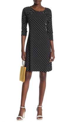 MSK Polka Dot Quarter Sleeve Dress