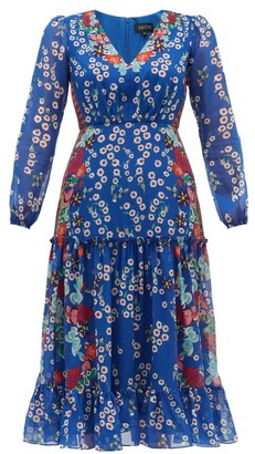 Saloni Devon Floral-print Silk Crepe De Chine Dress - Womens - Blue Multi