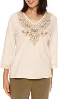 Alfred Dunner Cactus Ranch 3/4 Sleeve Embroidery Top