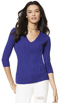 New York & Co. Cable-Knit V-Neck Sweater