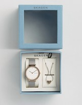 Skagen Ancher Mesh Watch & Heart Pendant Gift Set