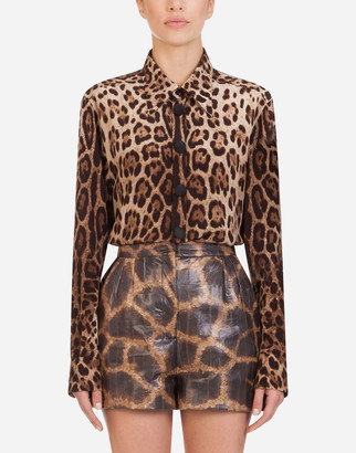 Dolce & Gabbana Crepe De Chine Shirt With Leopard Print