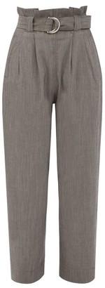Ganni Paperbag-waist Crepe Wide-leg Trousers - Grey