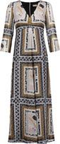 Suno Pleated metallic printed chiffon midi dress