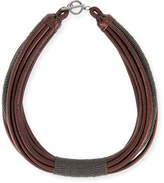 Brunello Cucinelli Monili Tube Leather Multi-Strap Choker