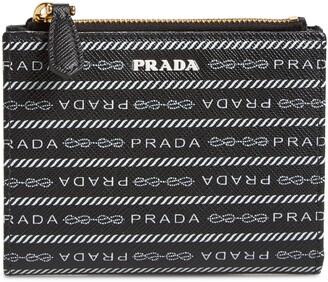 Prada Logo Print Leather French Wallet