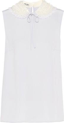 Miu Miu Sequin-Embellished Collar Blouse