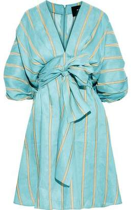 Paper London Kaia Tie-front Striped Linen-blend Dress