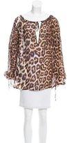Just Cavalli Leopard Print Silk Blouse