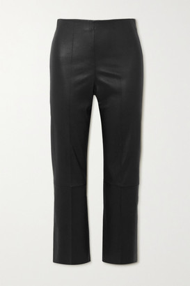 By Malene Birger Florentina Cropped Paneled Leather Slim-leg Pants - Black