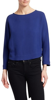 Giorgio Armani Silk-Blend Crepe Long-Sleeve Tie-Back Blouse