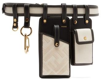 Fendi Leather And Canvas Utility Belt - White Black