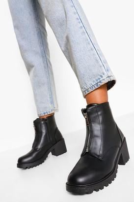 boohoo Zip Front Block Heel Biker Boots