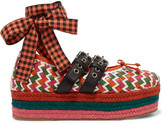 Miu Miu Lace-up Woven Leather Platform Espadrilles - Orange