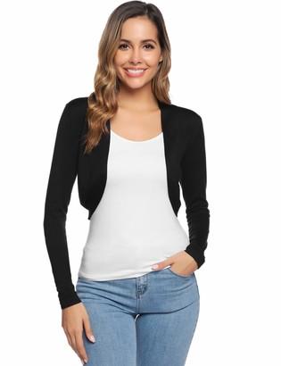 Abollria Womens Cardigans Autumn Winter Lightweight Long Sleeve Open Front Bolero Cardigan Sweater(S-XXL) Black