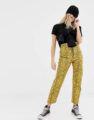 The Ragged Priest faux leather snakeskin trousers-Yellow