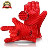 Sale! Pyür BBQ Silicone Maximum Heat Resistant Grilling Oven Gloves Great for Barbecue, Oven, Cooking, Frying, Baking, Smoking, Potholder, FDA Approved & BPA Free One Size Fits Most - Red