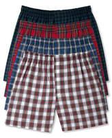 Hanes Men's Platinum FreshIQandtrade; Underwear, Plaid Woven Boxer 4 Pack