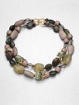 Alexis Bittar Swarovski Crystal Accented Semi-Precious Multi-Stone Dual Row Necklace