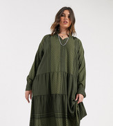 Only Curve smock dress with geo-tribal print in green
