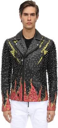 Philipp Plein Lightening Studded Leather Biker Jacket