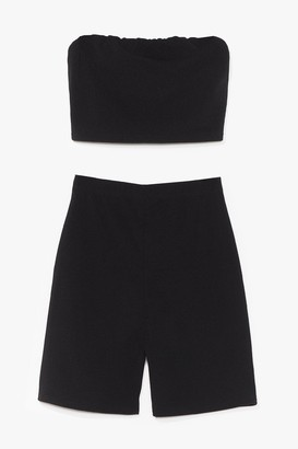 Nasty Gal Womens In It Two-gether Bandeau Top and Biker Shorts Set - Black