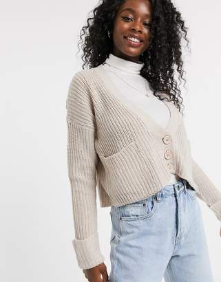 Qed London QED London cropped button through cardigan in taupe-Beige