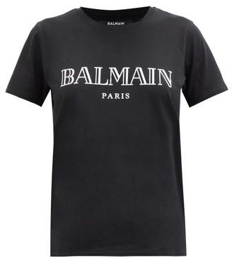 Balmain Logo-print Cotton-jersey T-shirt - Black Silver