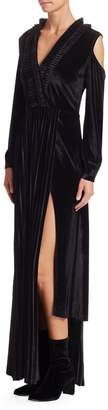 Each X Other Pleated Velvet Cold-Shoulder Maxi Dress