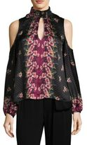 Nanette Lepore Jardin Silk Cold Shoulder Blouse