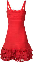 Herve Leger layered ruffles fitted dress - women - Nylon/Spandex/Elastane/Rayon - S