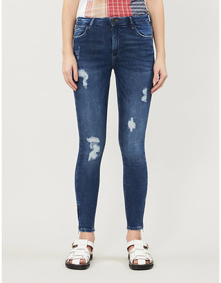 Noisy May Distressed skinny-fit mid-rise stretch-denim jeans