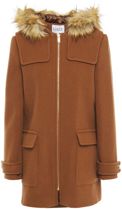 Claudie Pierlot Faux Fur-trimmed Wool And Cashmere-blend Felt Hooded Coat